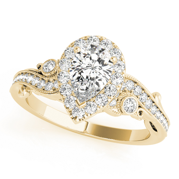 Pear Halo Diamond Filigree Swirl Engagement Ring in Yellow Gold