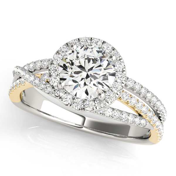 Mutli-Row Diamond Halo Engagement Ring in Yellow & White Gold