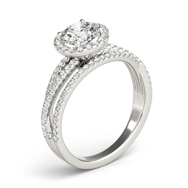 Mutli-Row Diamond Halo Engagement Ring