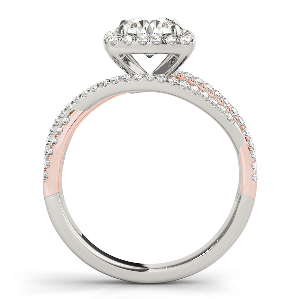 Mutli-Row Diamond Square Halo Engagement Ring om Rose & White Gold