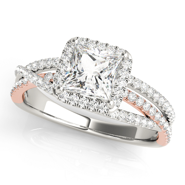 Mutli-Row Diamond Square Halo Engagement Ring in Rose & White Gold