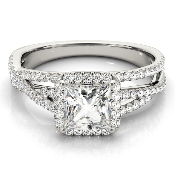 Mutli-Row Diamond Square Halo Engagement Ring