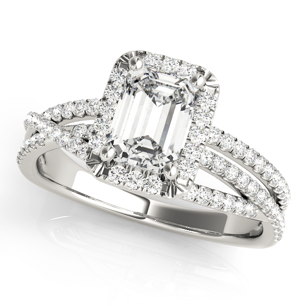 Mutli-Row Diamond Emerald Cut Halo Engagement Ring