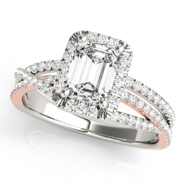 Mutli-Row Diamond Emerald Cut Halo Engagement Ring in Rose & White Gold
