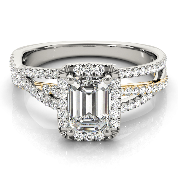 Mutli-Row Diamond Emerald Cut Halo Engagement Ring in Yellow & White Gold