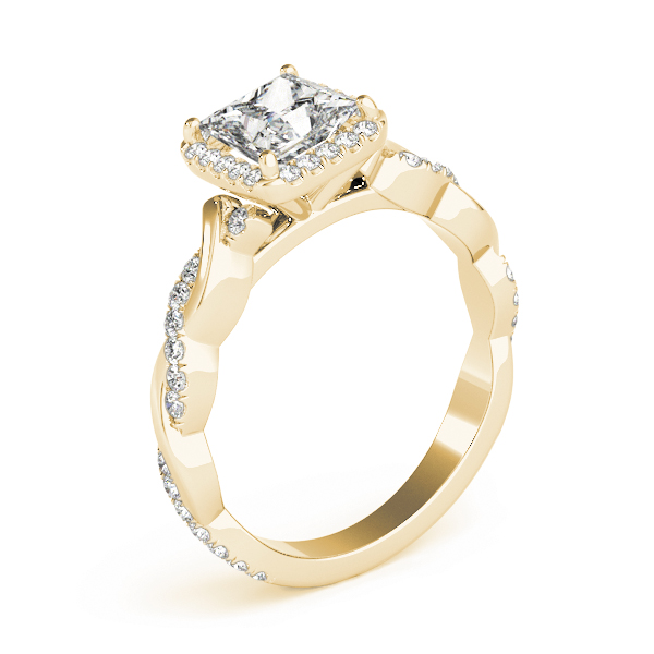 Princess Cut Diamond Halo Engagement Ring, Twisted Band Yellow Gold