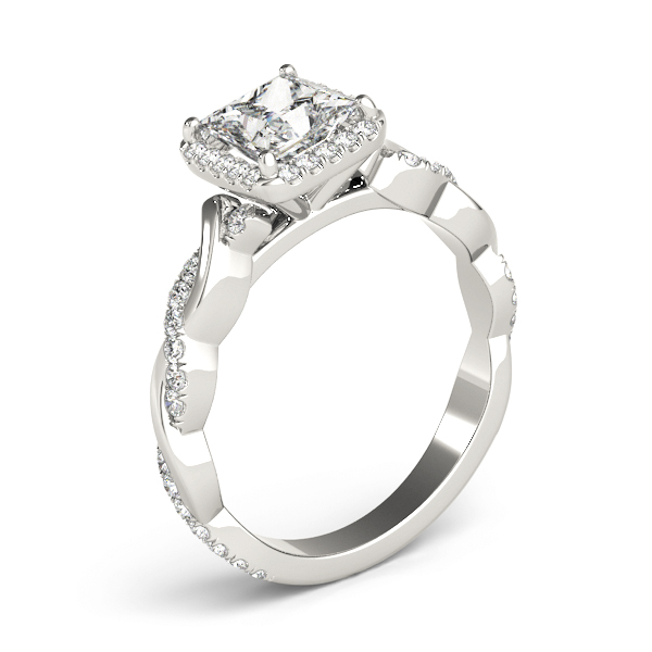 Princess Cut Diamond Halo Engagement Ring, Twisted Band