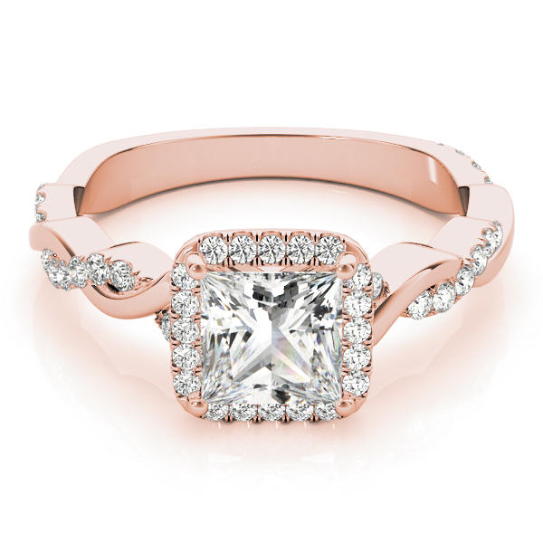 Princess Cut Diamond Halo Engagement Ring, Twisted Band Rose Gold