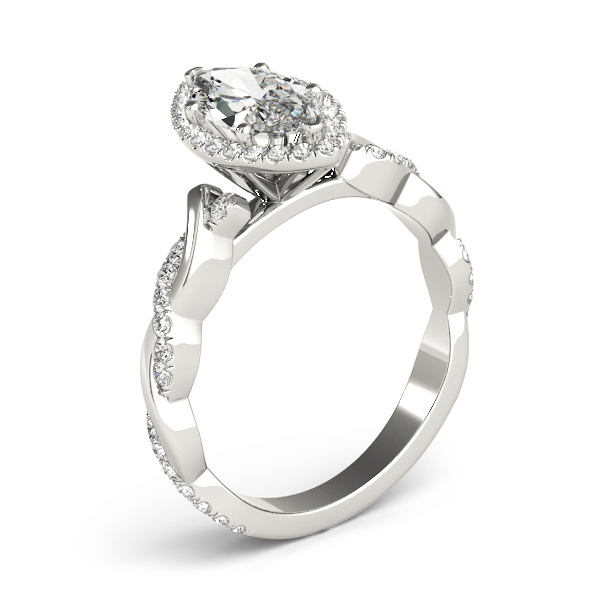 Marquise Halo Diamond Engagement Ring, Twisted Band