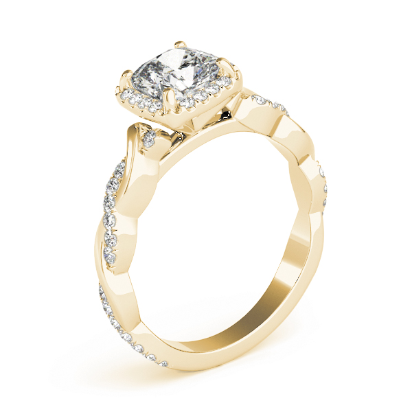 Cushion Halo Diamond Engagement Ring, Twisted Band in Yellow Gold