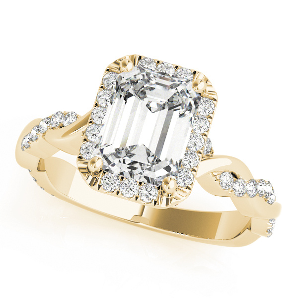 Emerald Cut Halo Diamond Engagement Ring, Twisted Band in Yellow Gold