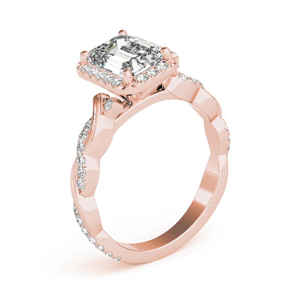 Emerald Cut Halo Diamond Engagement Ring, Twisted Band in Rose Gold
