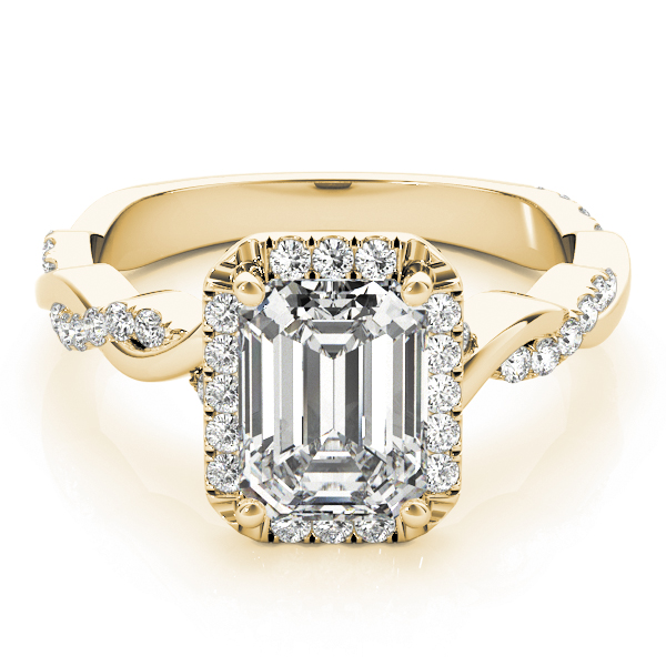 Emerald Cut Diamond Halo Engagement Ring, Twisted Band Yellow Gold