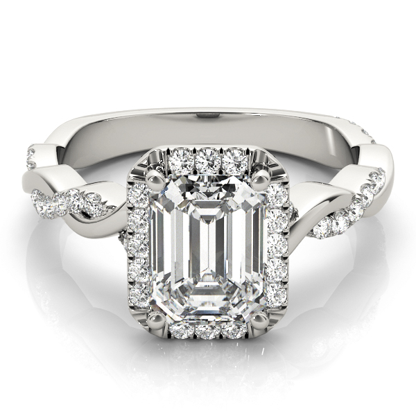 Emerald Cut Halo Diamond Engagement Ring, Twisted Band