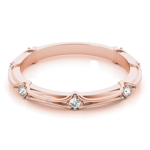 Round Diamond Stackable Ring Rose Gold