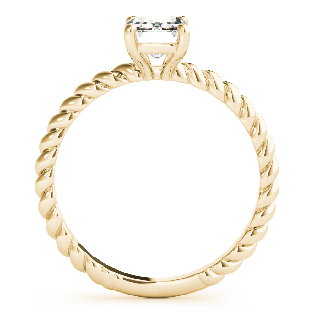 Petite Rope Solitaire Emerald Engagement Ring Yellow Gold