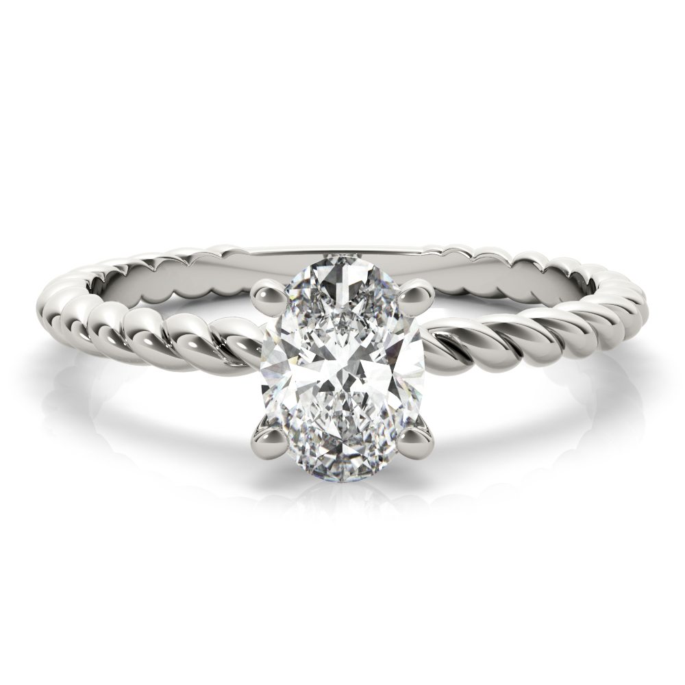 Petite Rope Solitaire Oval Engagement Ring