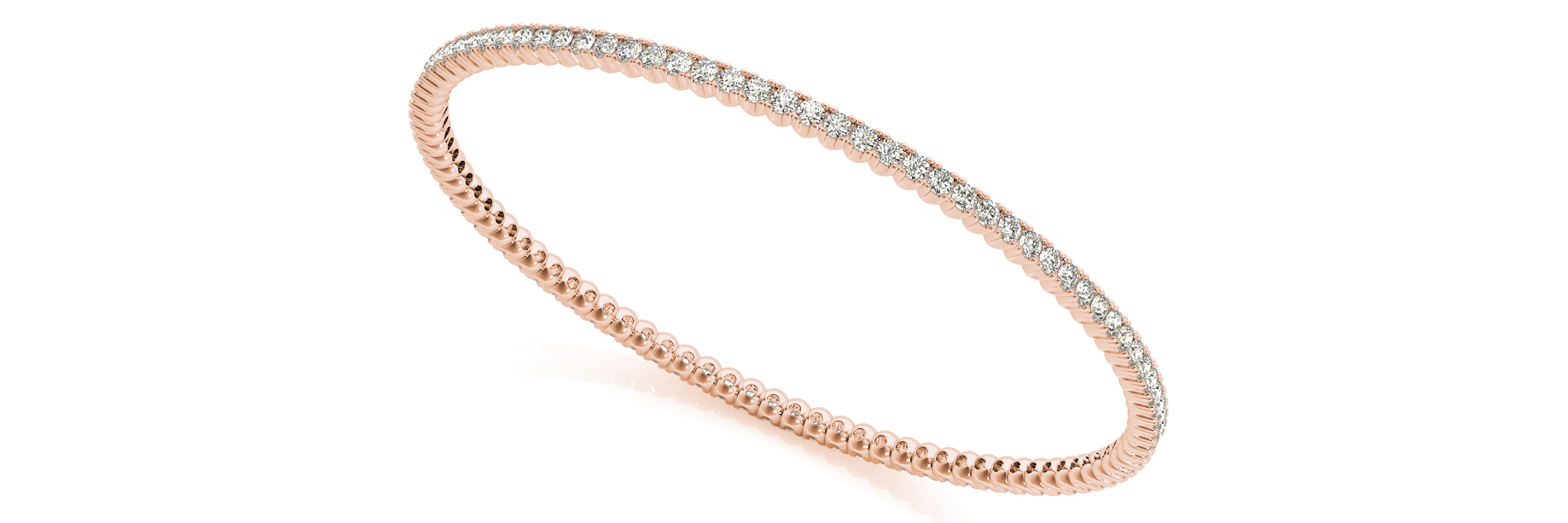 2.79 Carat Round Diamond Eternity Bangle in Rose Gold