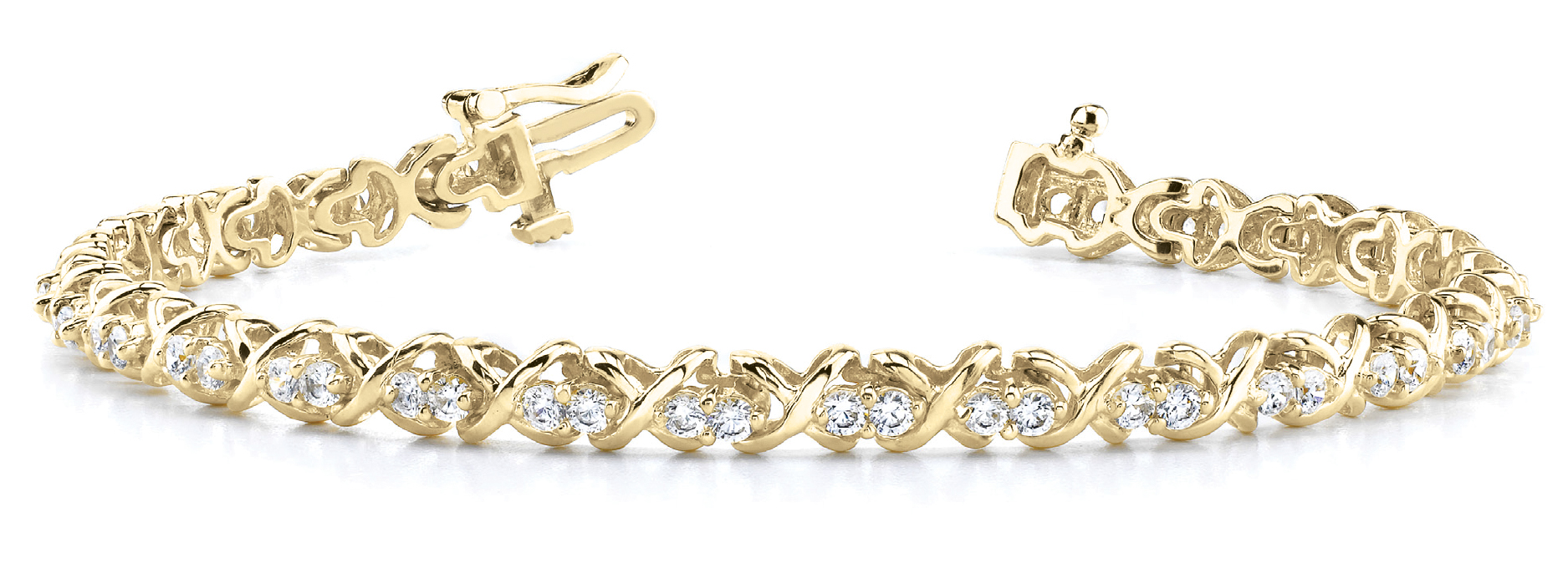 2.0 Carat Round Diamond Double XO Bracelet Yellow Gold