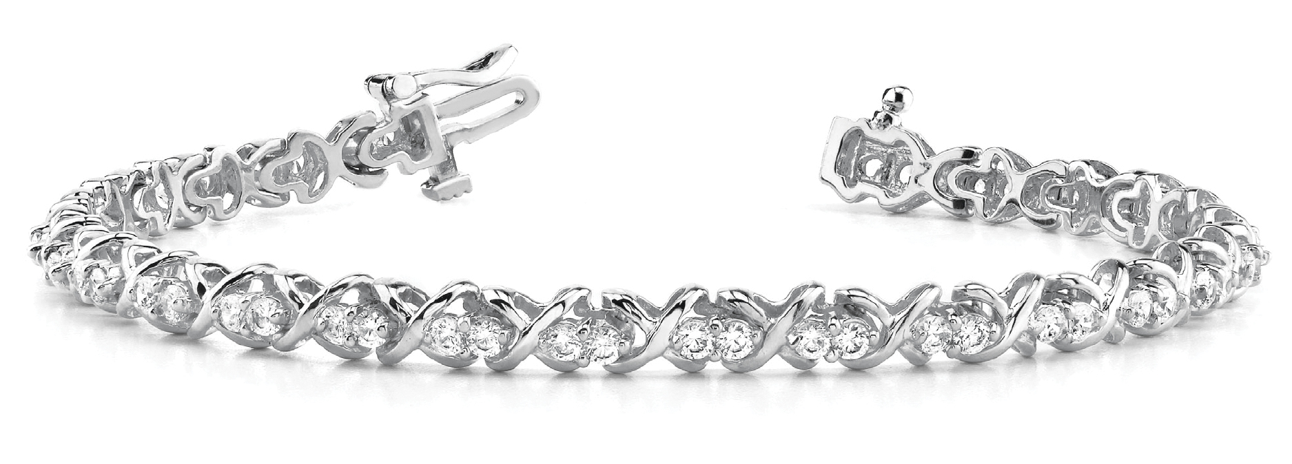 3.95 Carat Round Diamond Double XO Bracelet