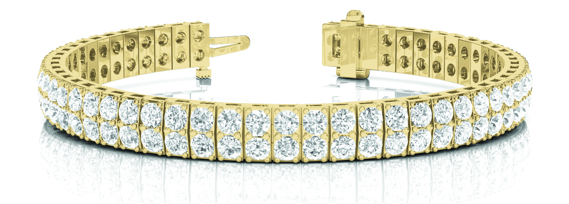 5 Carat Multi Row Diamond Yellow Gold Bracelet