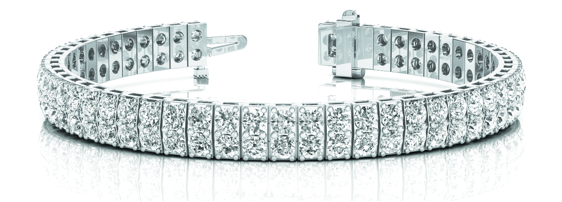 4 Carat Multi Row Diamond Platinum Bracelet