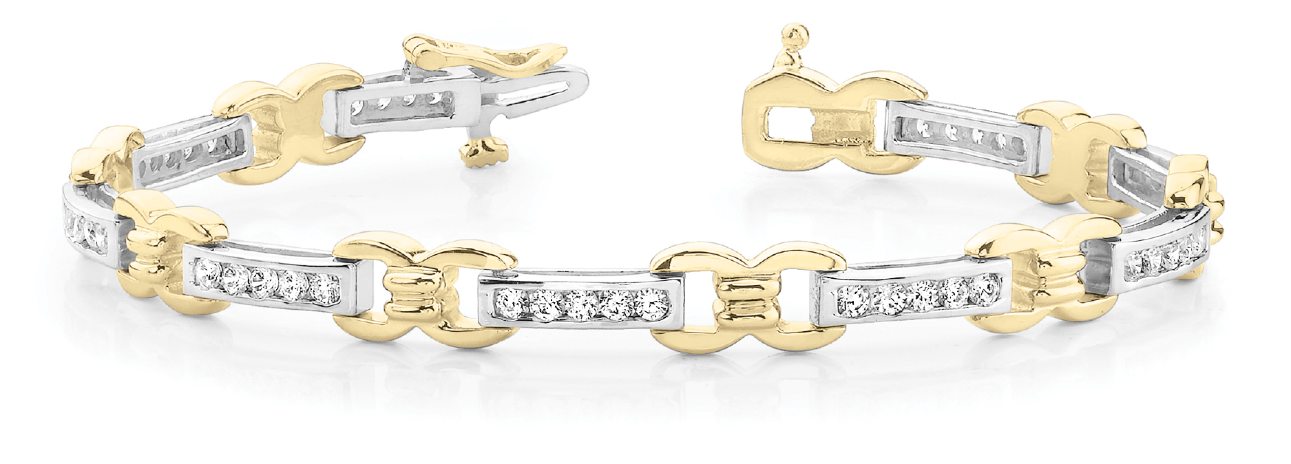Watch Link Bracelet Channel Diamonds 1 CT. Yellow Gold