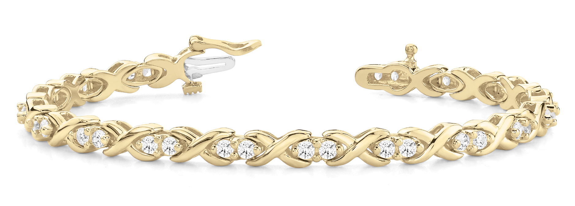 1.70 Carat Round Diamond XO Bracelet Yellow Gold