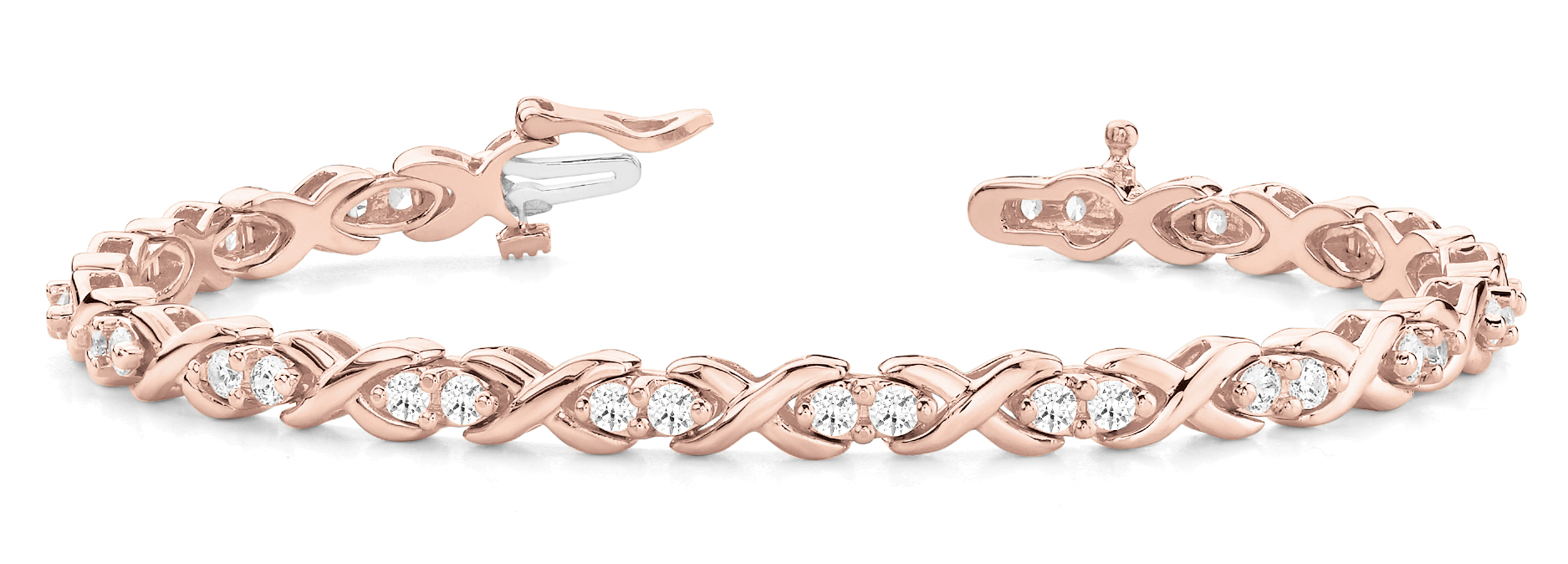 1.70 Carat Round Diamond XO Bracelet Rose Gold