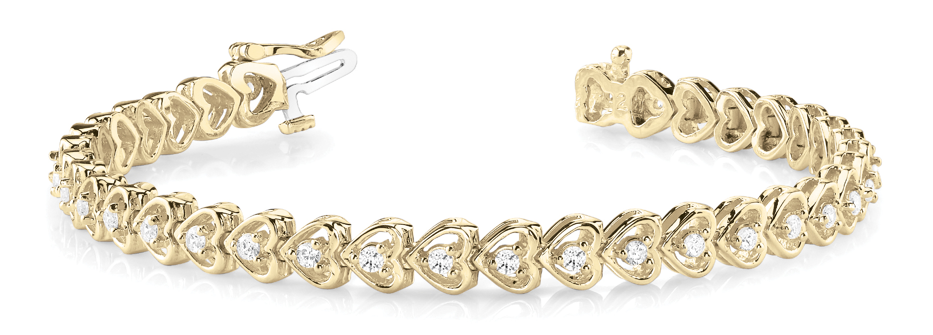 1.25 Carat Round Diamond Heart Link Bracelet Yellow Gold
