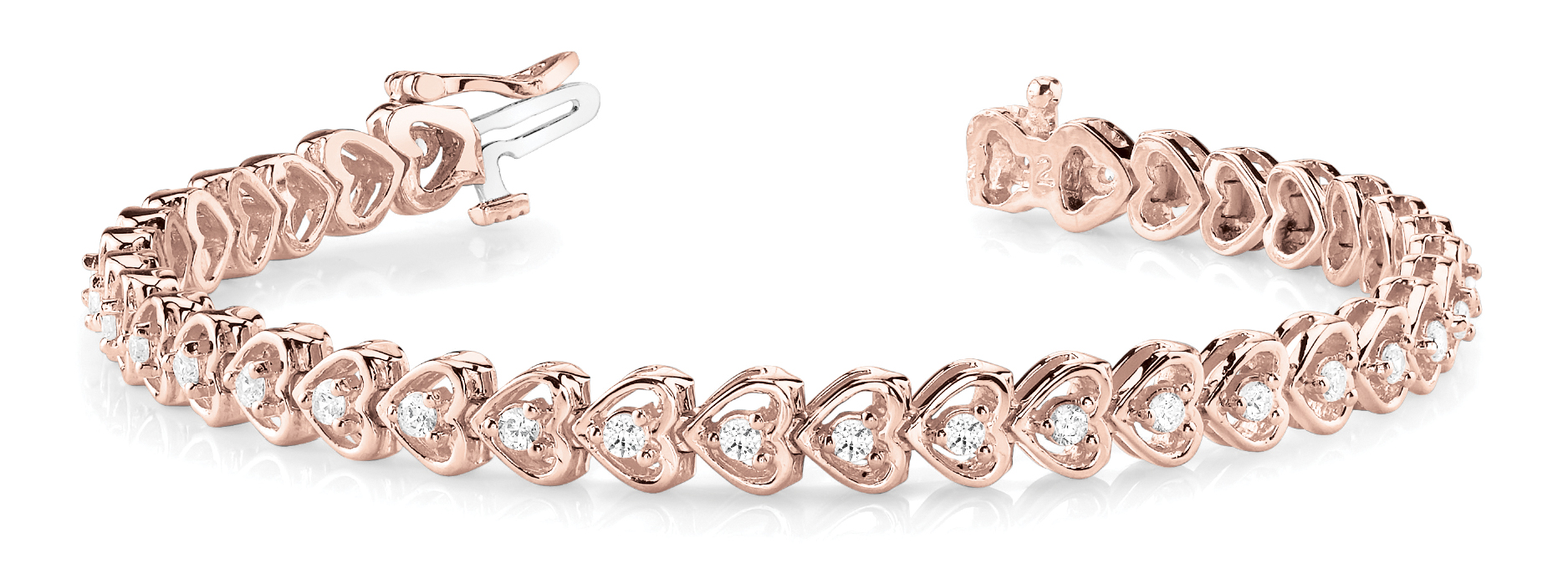 2 Carat Round Diamond Heart Link Bracelet Rose Gold