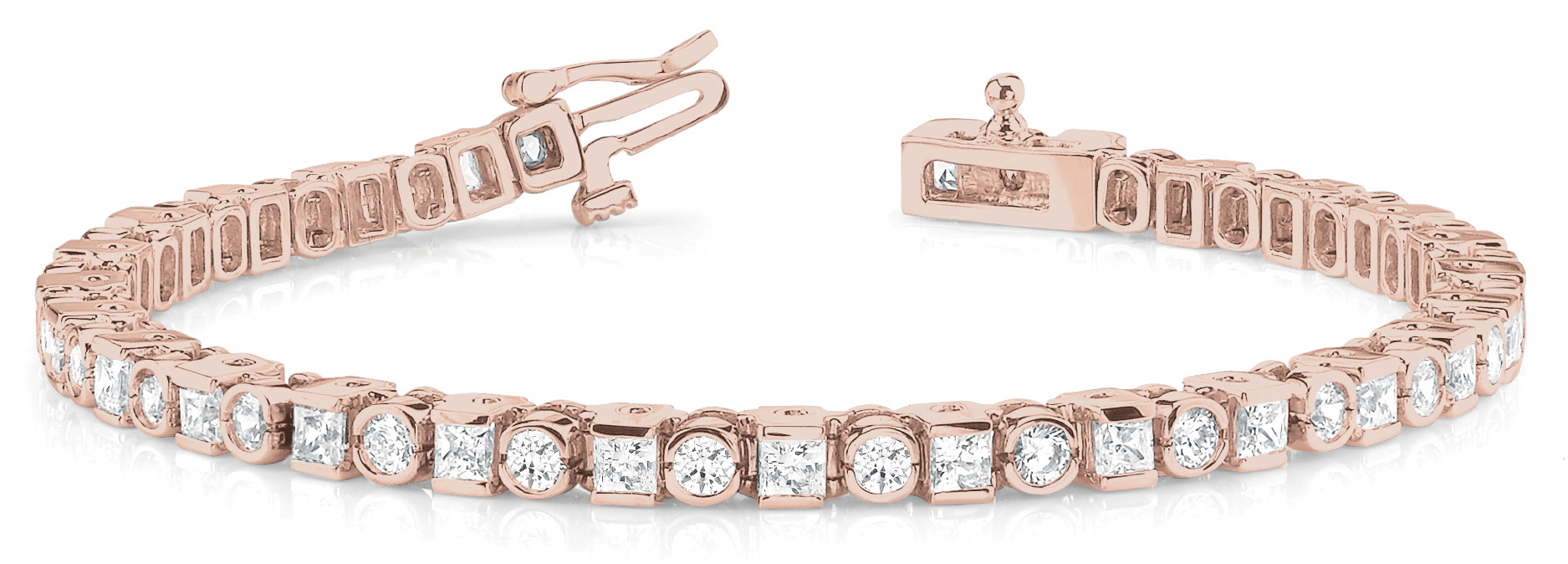 6.75 Ct Round & Princess Diamond Bar and Bezel Rose Gold Bracelet