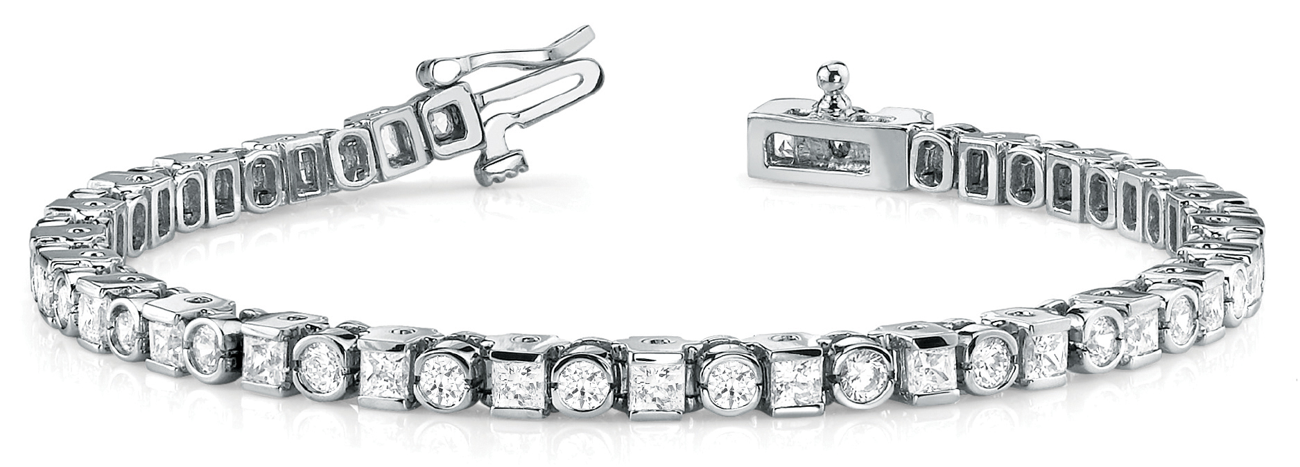 7.50 Ct Round & Princess Diamond Bar and BezelPlatinum Bracelet