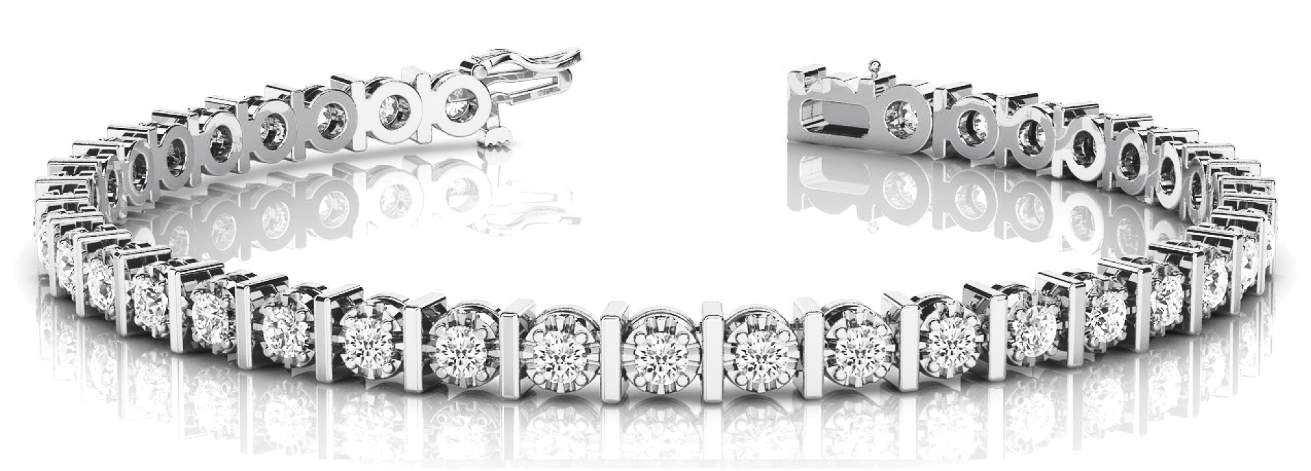 2 Carat Round Diamond Bar Set Rose Tennis Bracelet