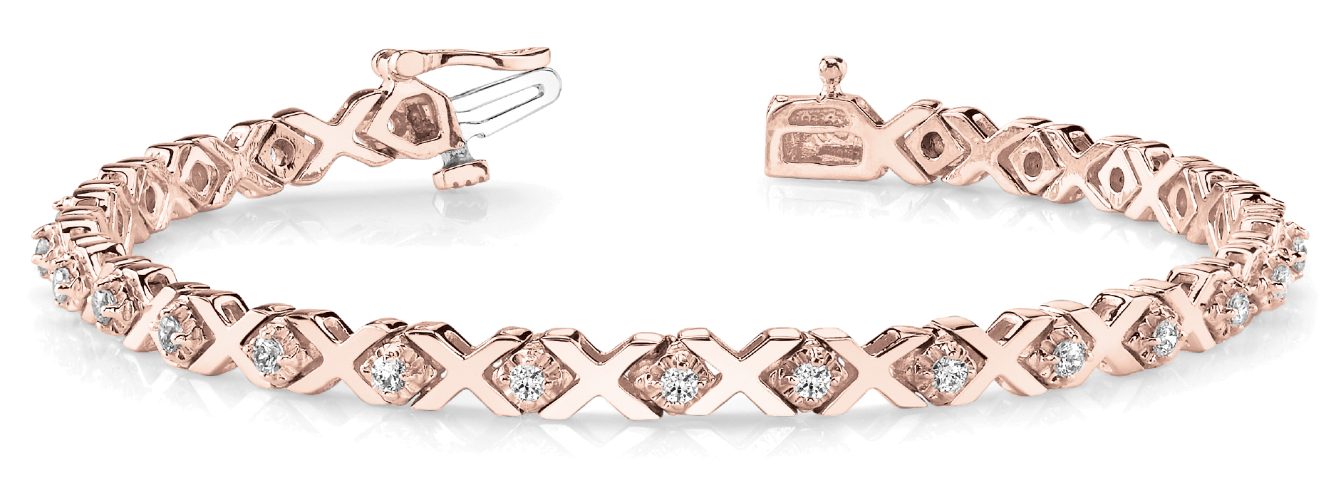 1.26 Carat Round Diamond XO Bracelet Rose Gold