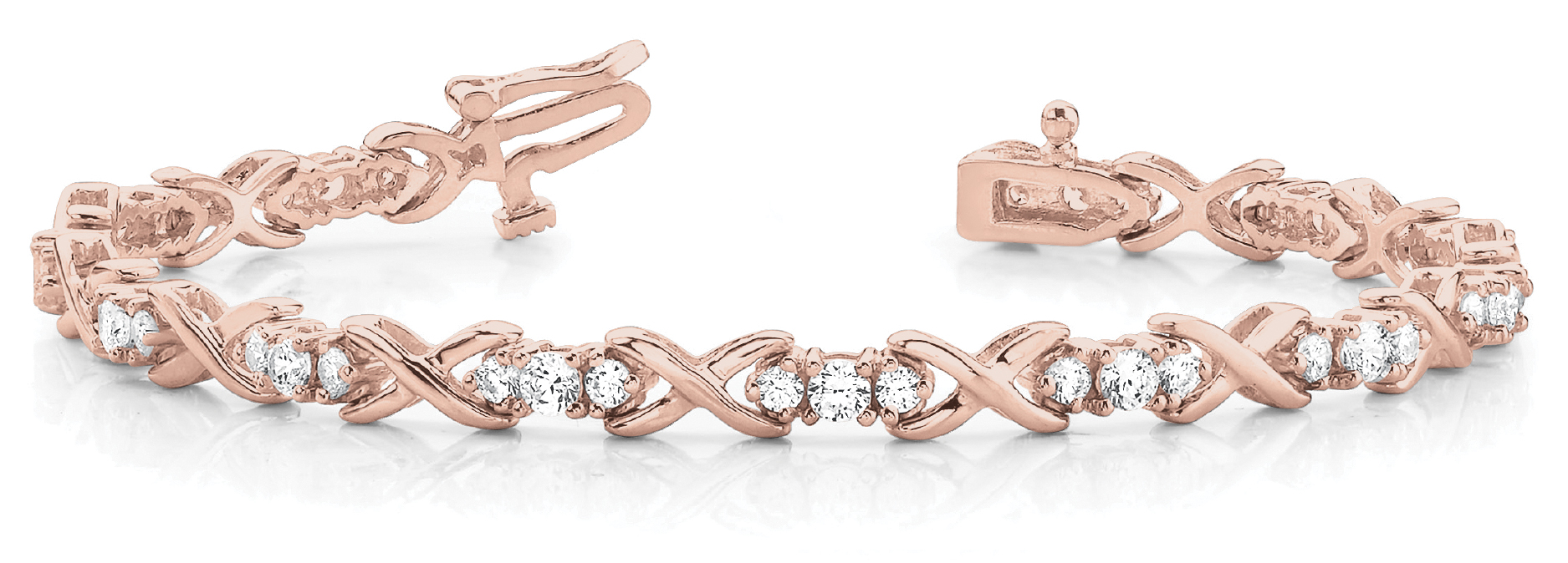 2.47 Carat Round Diamond Triple XO Bracelet Rose Gold