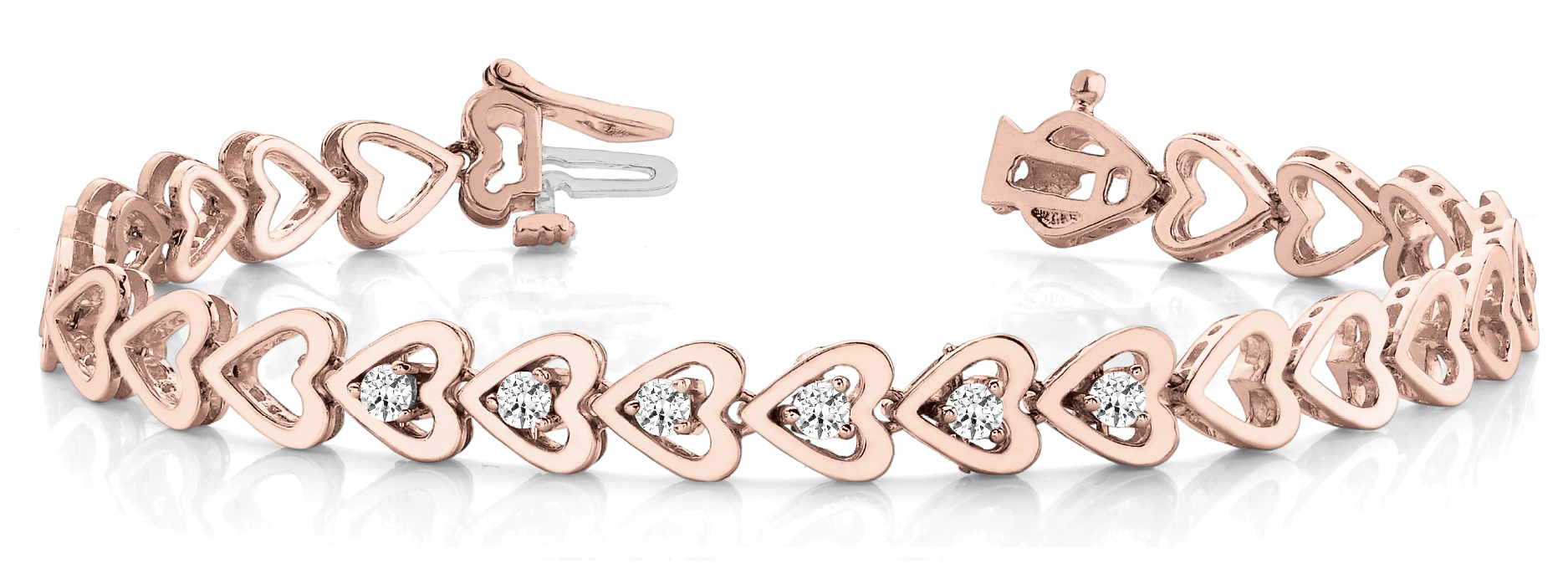 Round Diamond Add On Heart Link Rose Gold Bracelet