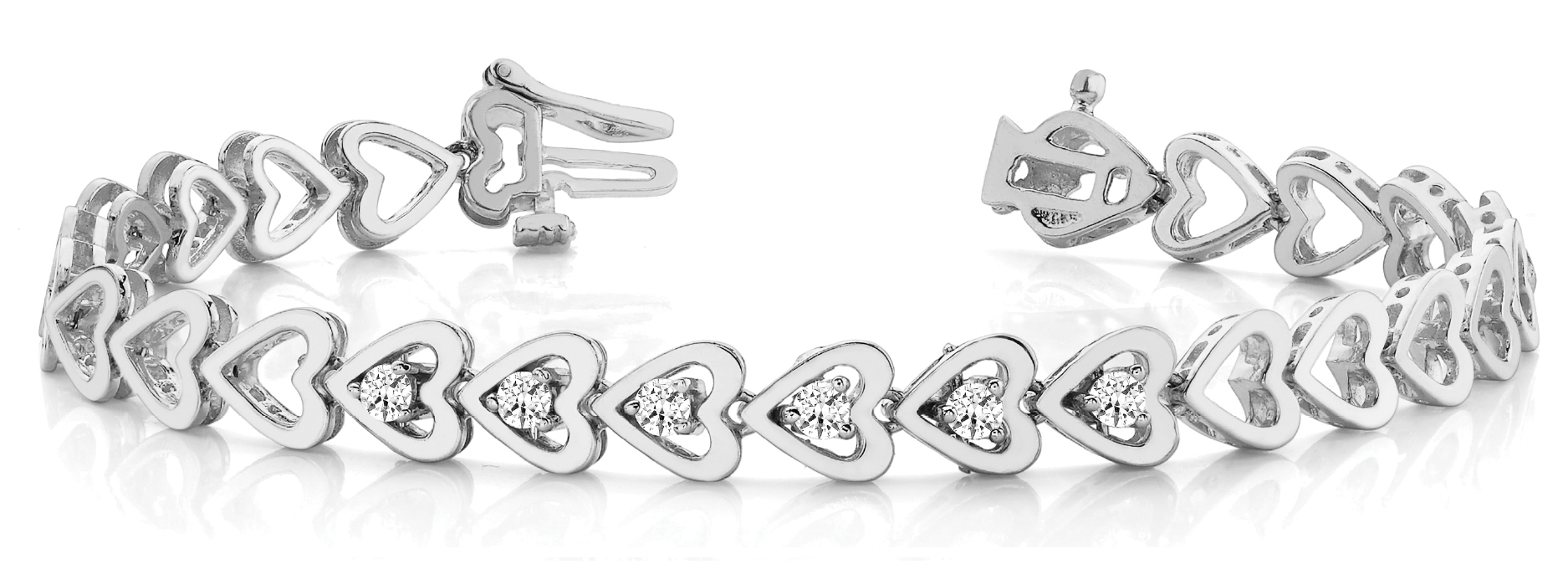Round Diamond Add On Heart Link Bracelet