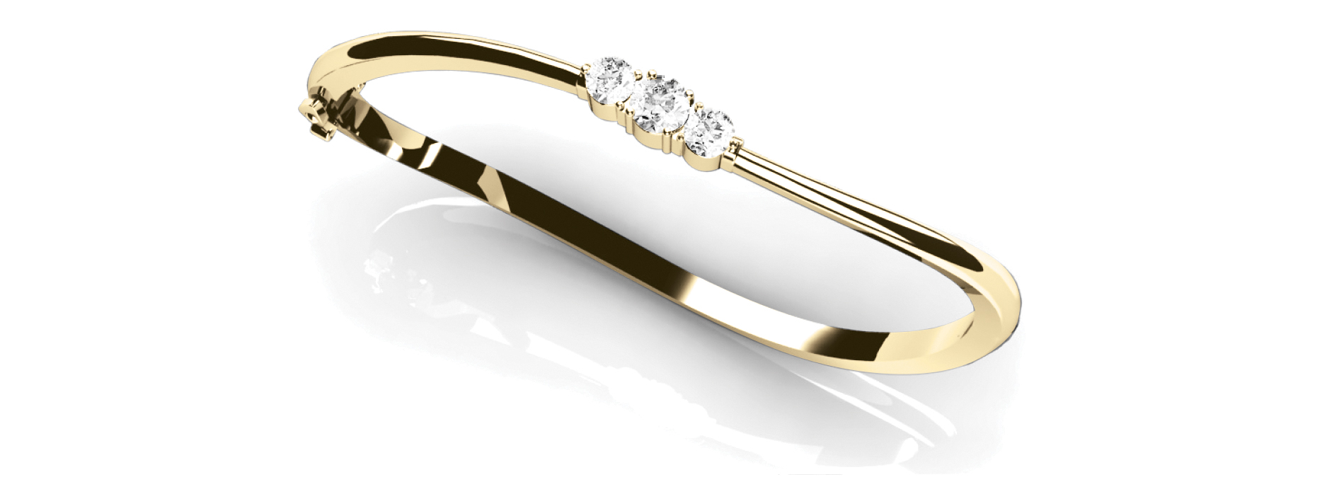 Round Diamond Yellow Gold Bangle 0.5 Ct
