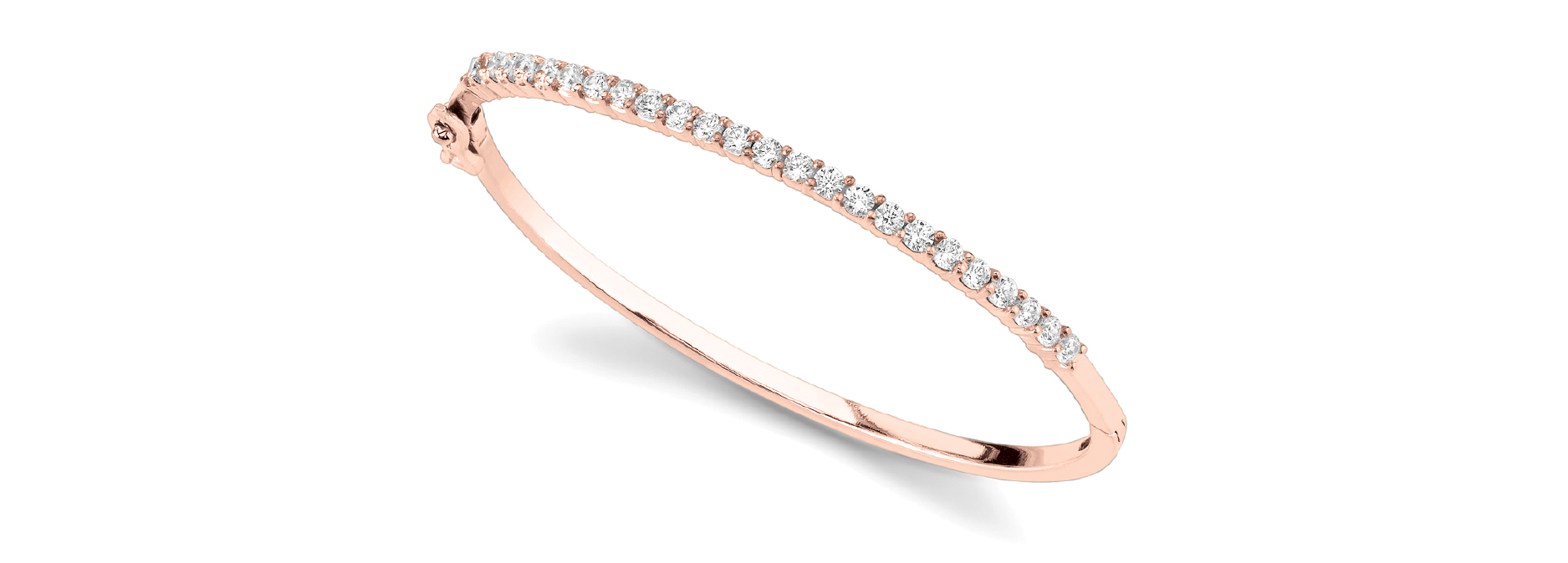 1.9 Carat Round Diamond Bangle in Rose Gold