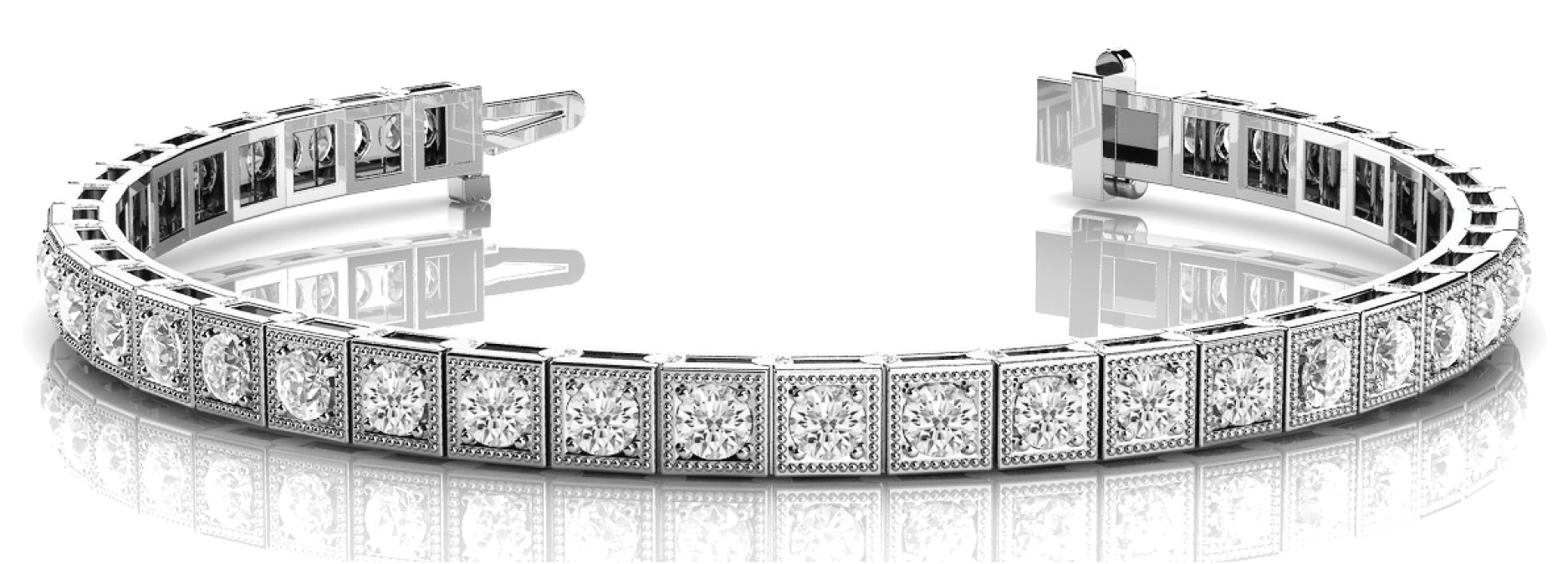 1 Carat Round Diamond Square Tennis Bracelet