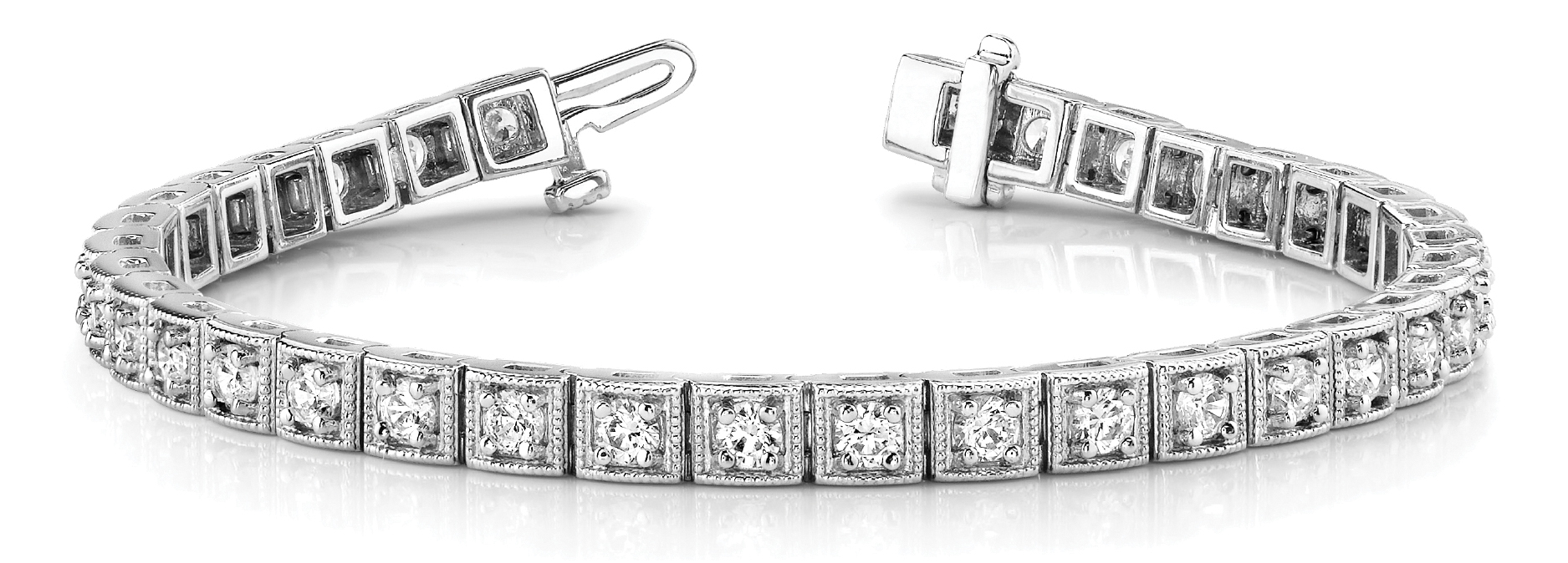 Round Diamond Square Tennis Bracelet 4 ct. Platinum