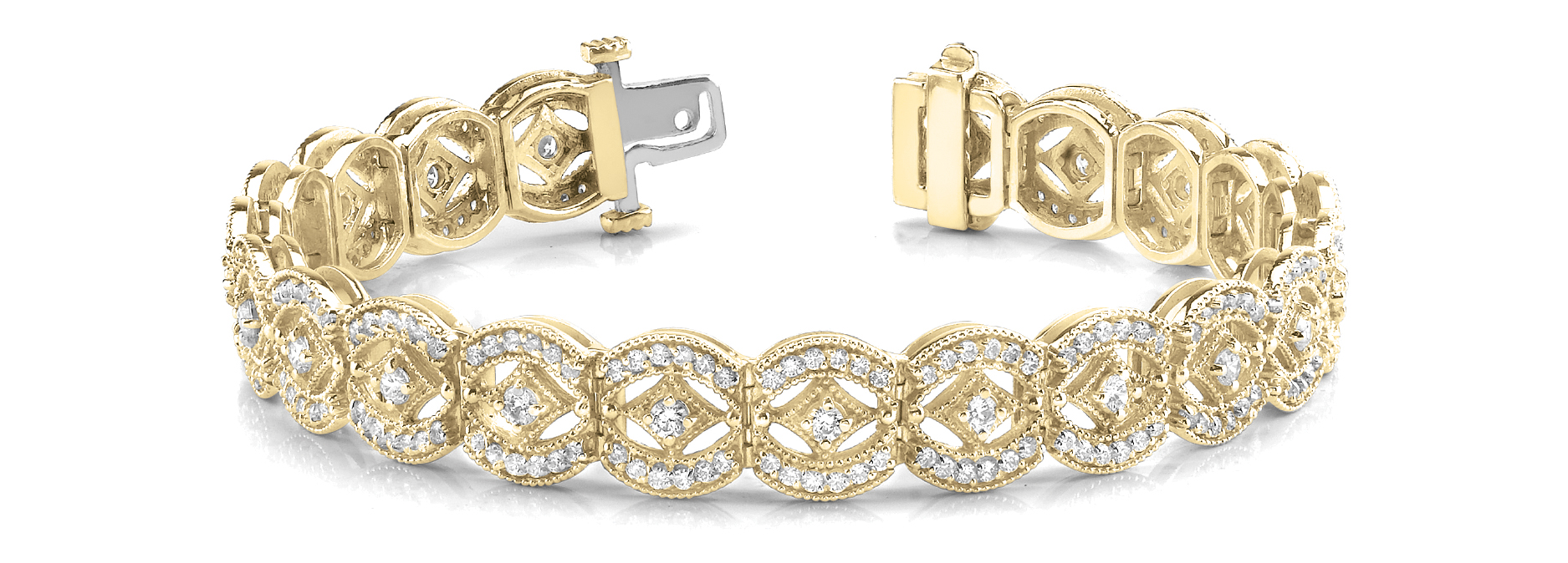 Vintage Style Argyle Round Diamond Bracelet Yellow Gold 4.0 CT.