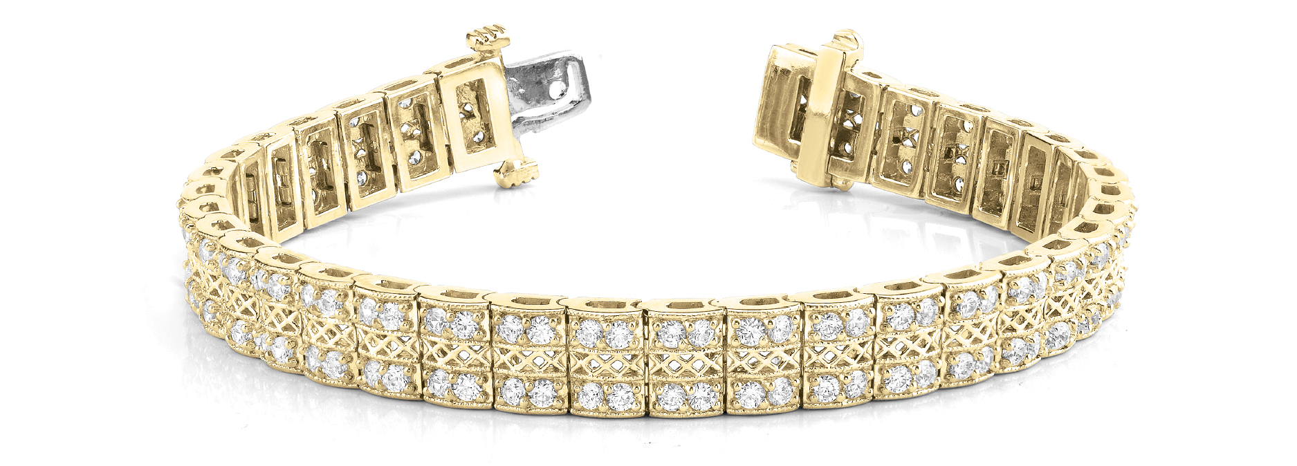 Multi Row Duo Round Diamond Filigree Bracelet 3.04 Ct. Yellow Gold