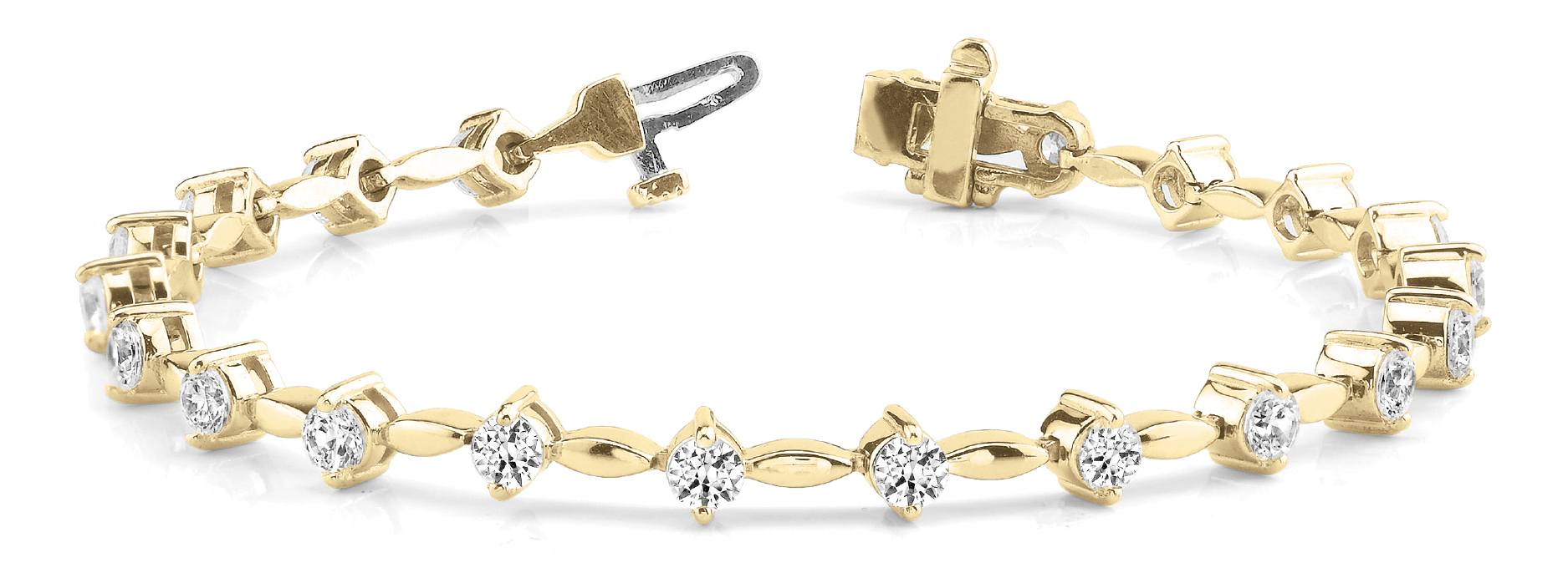 2.06 Ct Round Diamond Bar Link Bracelet Yellow Gold