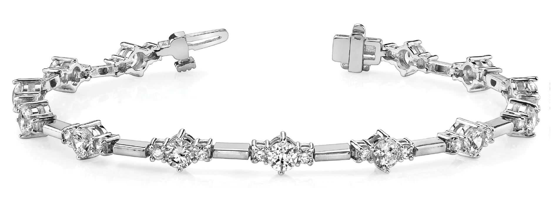 Three Stone Bar Link Platinum Bracelet 4.03 Ct.