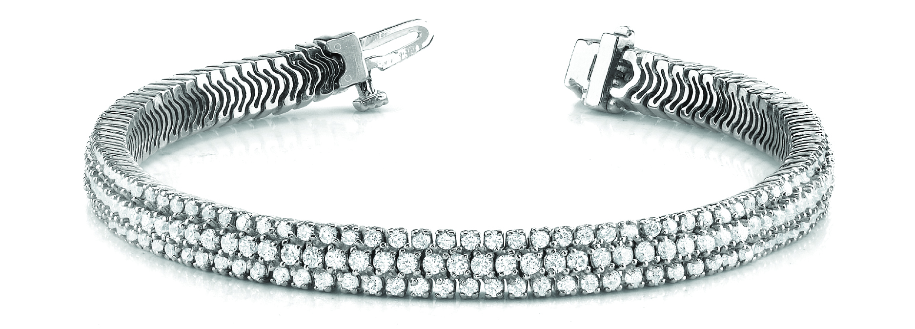 Multi Row Etoil Round Diamond Platinum Bracelet 8 Ct.