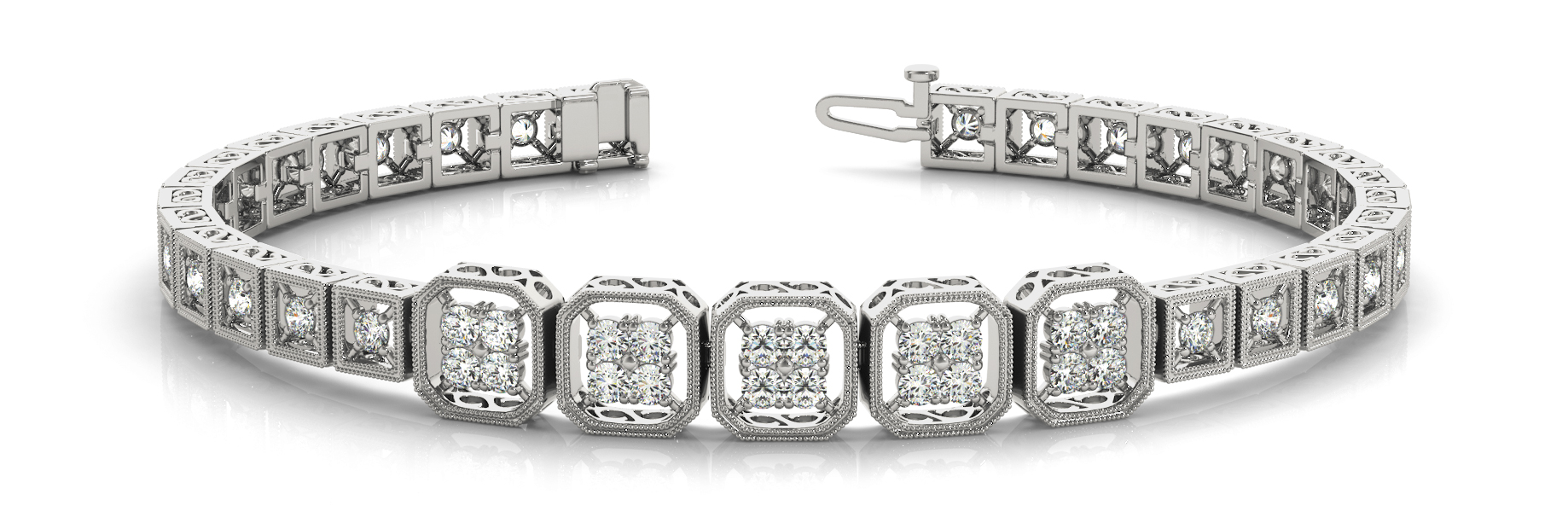Quad Octagon Round Diamond Filigree Bracelet 1.4 ct.