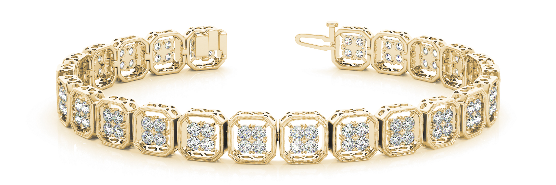 Octagon Cluster Round Diamond Yellow Gold Bracelet 2.88 ct.