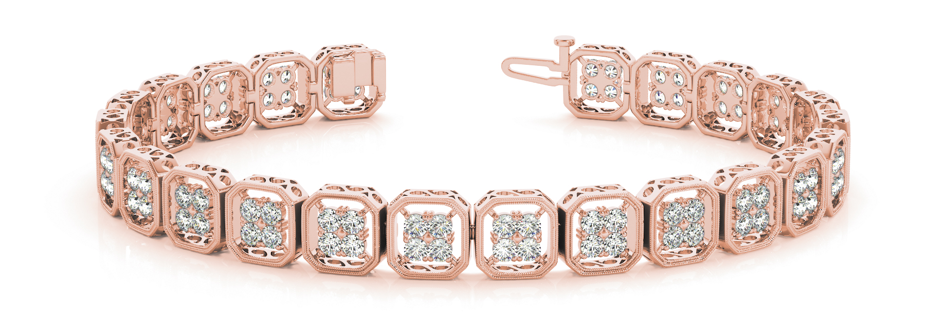 Octagon Cluster Round Diamond Rose Gold Bracelet 2.88 ct.
